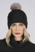 Charcoal Grey pure cashmere fur pom pom cable knit beanie hat front