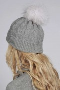 Light Grey pure cashmere fur pom pom cable knit beanie hat back