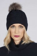 Navy Blue pure cashmere fur pom pom cable knit beanie hat front