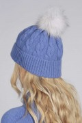 Periwinkle blue pure cashmere fur pom pom cable knit beanie hat BACL