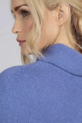 Periwinkle pure cashmere roll neck poncho cape close up