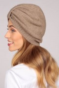 Cashmere turban in camel brown 2