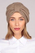 Cashmere turban in camel brown 1
