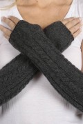 Charcoal Grey cashmere cable knit wrist warmers gloves 3