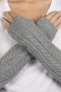 Light Grey pure cashmere cable knit wrist warmers gloves 3