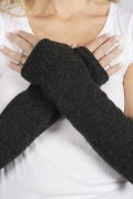 Charcoal Grey pure cashmere fingerless long wrist warmer gloves 3