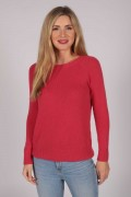 Coral Red Crew Neck Jumper 100% Cashmere front