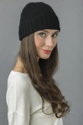 Pure Cashmere Plain and Ribbed Knitted Beanie Hat in Black 2