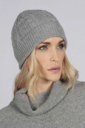 Light grey cashmere beanie hat cable and rib knit