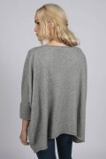 Light Grey pure cashmere short sleeve oversized batwing sweater back