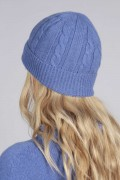 Periwikle blue cashmere beanie hat cable and rib knit back