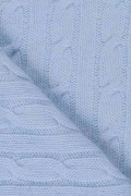 Light Blue pure cashmere baby blanket cable knit