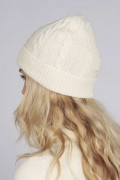 Cream white pure cashmere beanie hat cable and rib knit 3