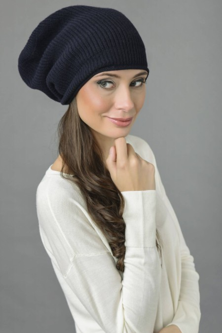 Pure Cashmere Ribbed Knitted Slouchy Beanie Hat in Navy Blue 1