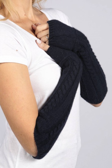 Navy Blue pure cashmere cable knit wrist warmers gloves 1