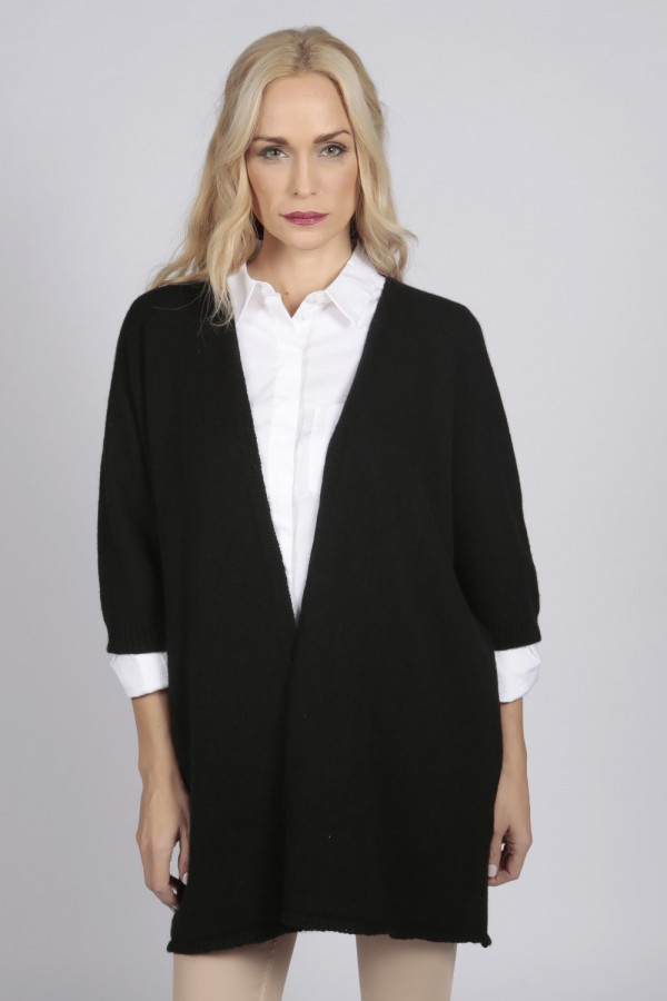 Black pure cashmere duster cardigan front