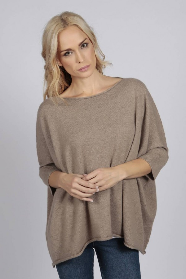Camel Brown pure cashmere short sleeve oversized batwing sweater front