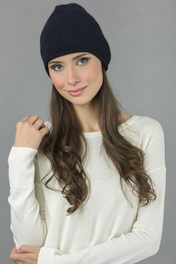 Pure Cashmere Plain Knitted Beanie Hat in Navy Blue 2