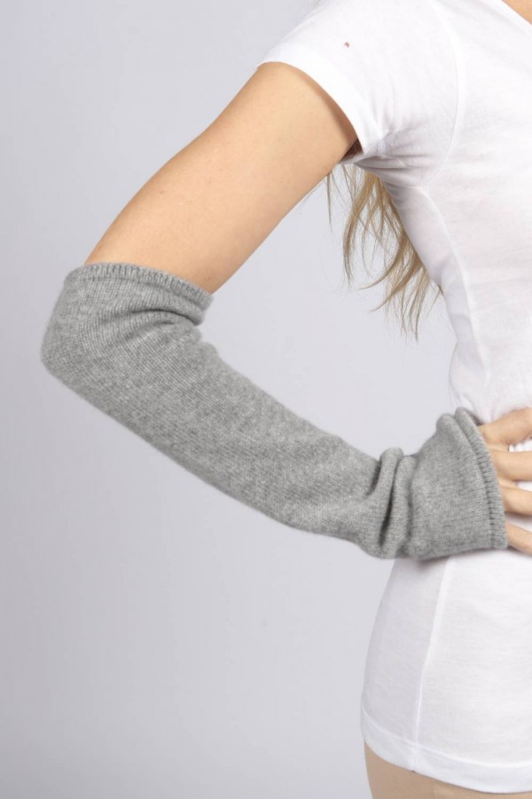 Light Grey pure cashmere fingerless long wrist warmer gloves 1
