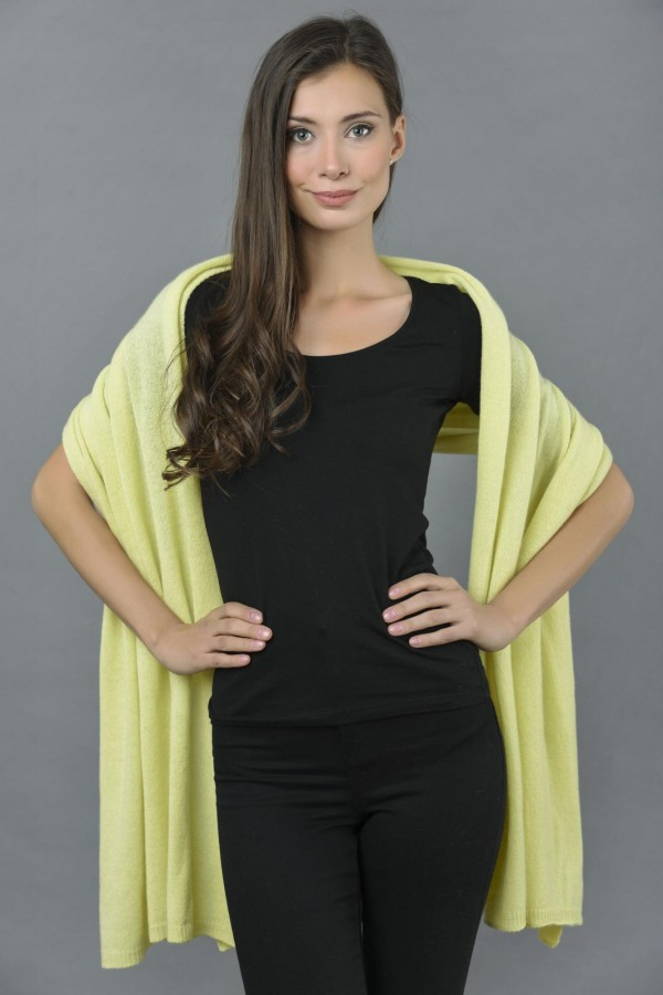 Knitted Pure Cashmere Wrap in Yellow front 2