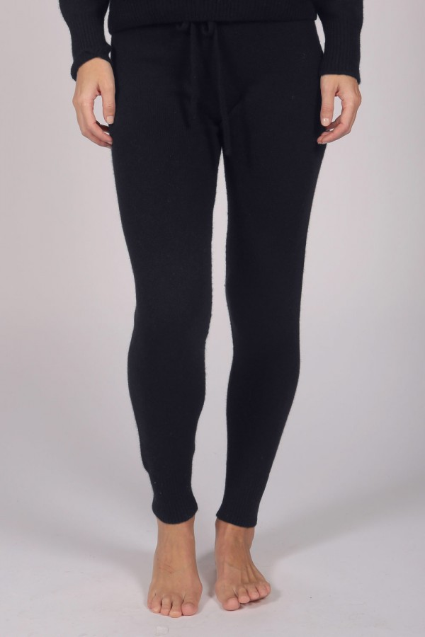 Women's Pure Cashmere Joggers Pants in Navy Blue front