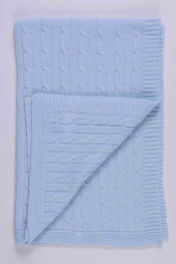 Light Blue pure cashmere baby blanket cable knit close up 2