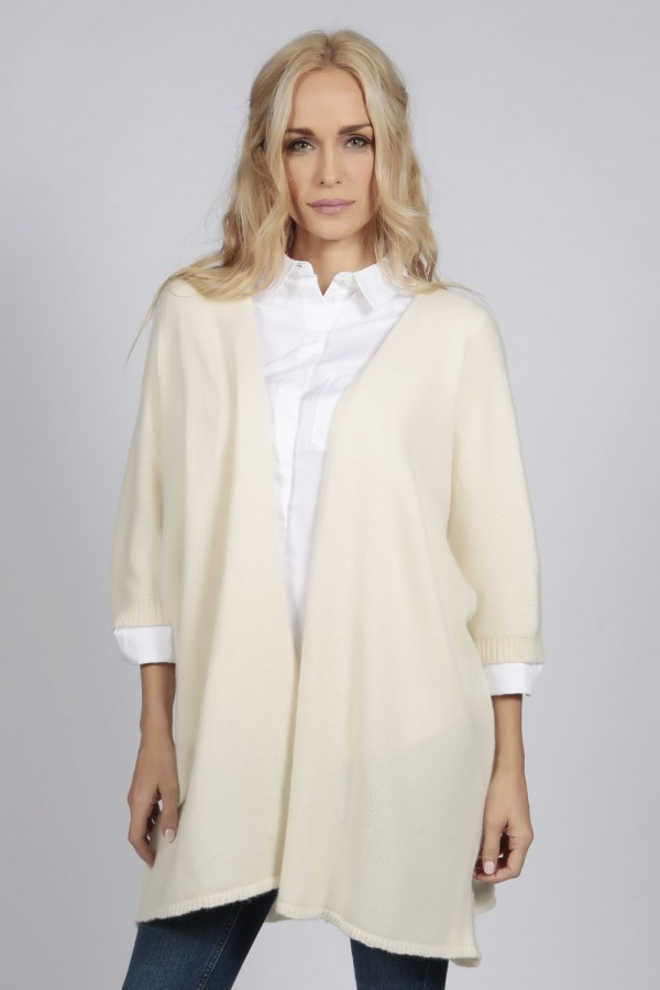 Cream white pure cashmere duster cardigan front