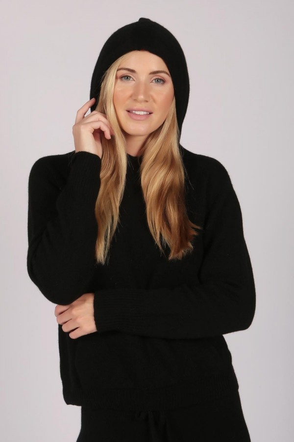 Black 100% Cashmere Hoodie for Women front