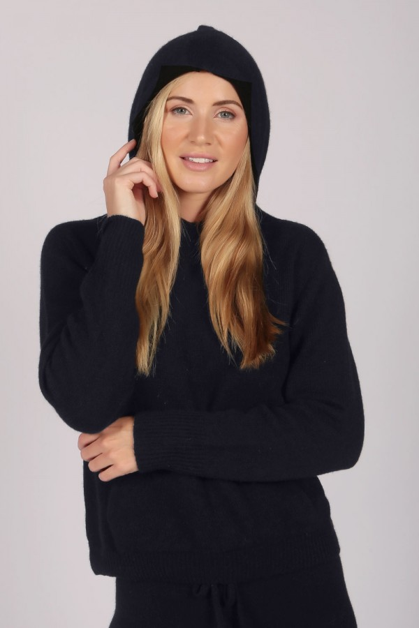 Navy Blue 100% Cashmere Hoodie for Women front