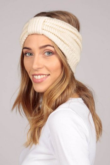 Cashmere headband cream white