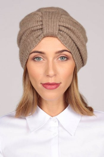 Cashmere Turban in Camel Brown