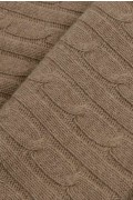 Luxury Pure Cashmere Cable Knit Blanket Throw Camel Brown close up