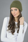 Pure Cashmere Plain and Ribbed Knitted Beanie Hat in Loden Green 2