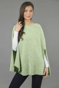Cashmere Plain Knitted PoPoncho-cape 100% cachemire à maille lisse en vert saugencho Cape in Sage Green