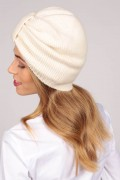 Cashmere turban in cream white 2