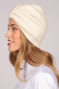 Cashmere turban in cream white 1