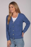 Cashmere Cardigan Jumper in Periwinkle Blue front