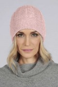 Baby Pink pure cashmere beanie hat cable and rib knit 3