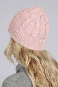Baby Pink pure cashmere beanie hat cable and rib knit 1