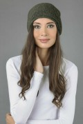 Pure cashmere ribbed slouchy beanie hat plain knit 3