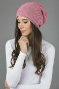 Pure Cashmere Ribbed Knitted Slouchy Beanie Hat in Antique Pink 01
