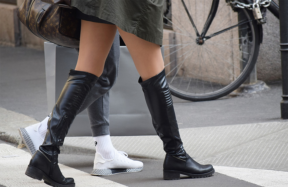 Woman with knee boots