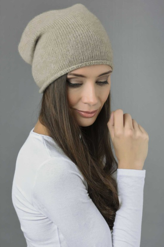 Pure Cashmere Plain Knitted Slouchy Beanie Hat in Camel Brown 1