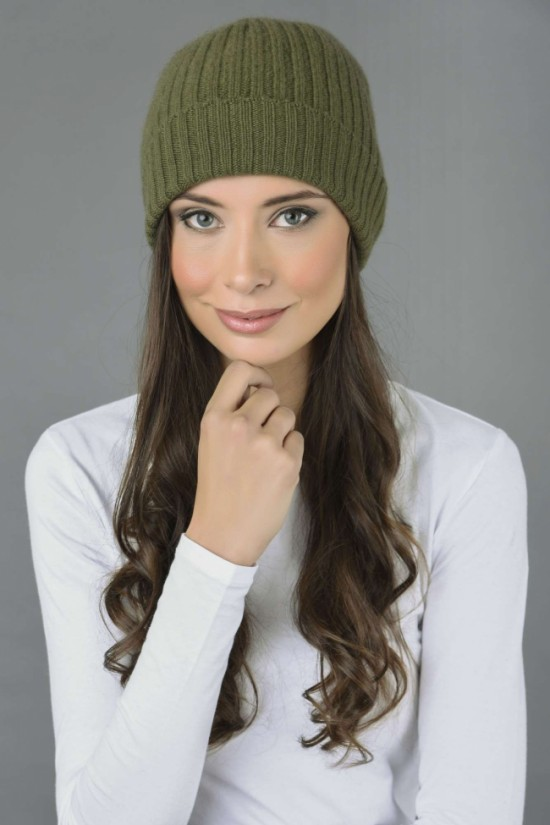 Pure Cashmere Fisherman Ribbed Beanie Hat in Loden Green 1