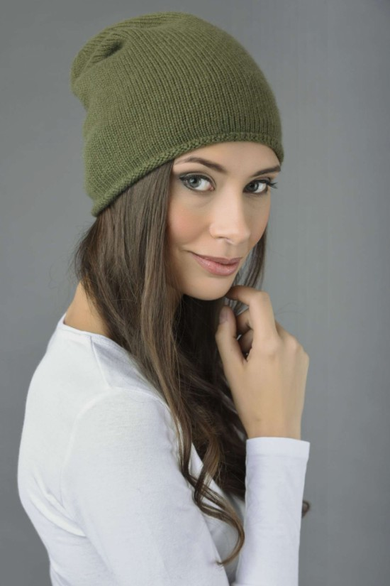 Pure Cashmere Plain Knitted Slouchy Beanie Hat in Loden Green 1