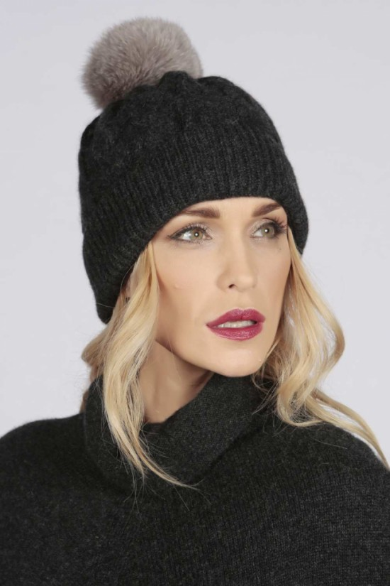 Charcoal Grey pure cashmere fur pom pom cable knit beanie hat