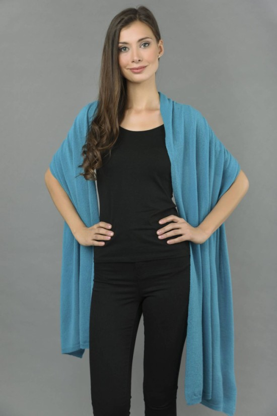 Knitted Pure Cashmere Wrap in Sea Blue 2