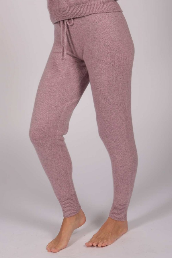 Women's Pure Cashmere Joggers Pants in Antique Pink 1