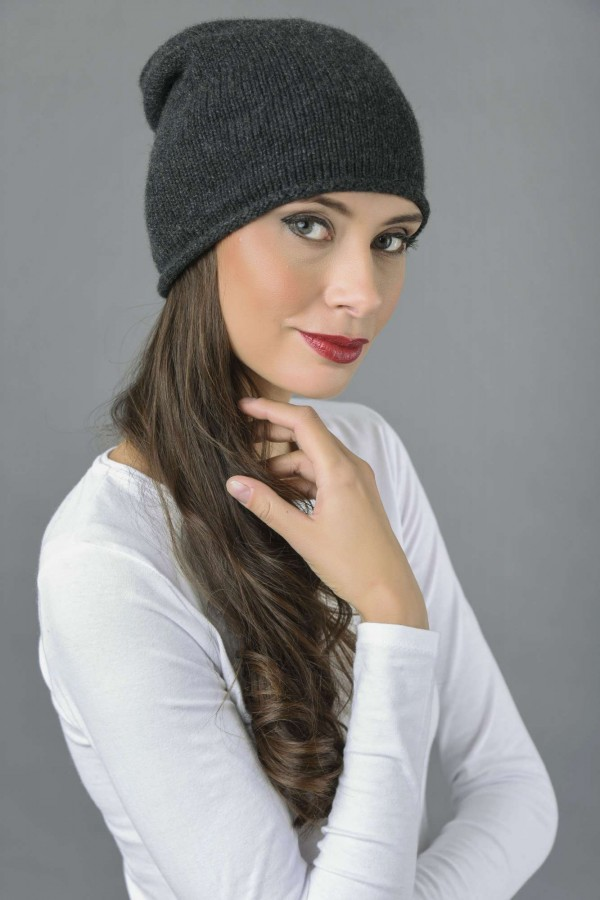 Pure Cashmere Plain Knitted Slouch Beanie Hat in Charcoal Grey 1