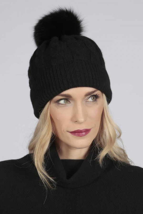 Black pure cashmere fur pom pom cable knit beanie hat front